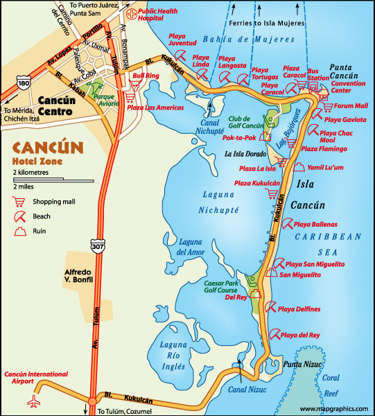 Cancun downtown map on
